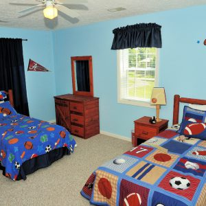 sport-themed group home bedroom